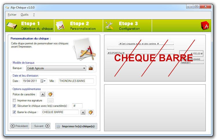 Aide Personnalisation Des Cheques
